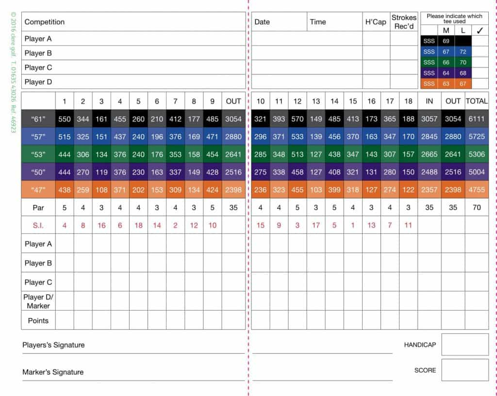 Horsham golf and Fitness The-OAKS-Scorecard | Sussex Golf