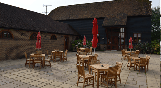 Rookwood-Golf-Course-warnham-barn-patio space | Sussex Golf